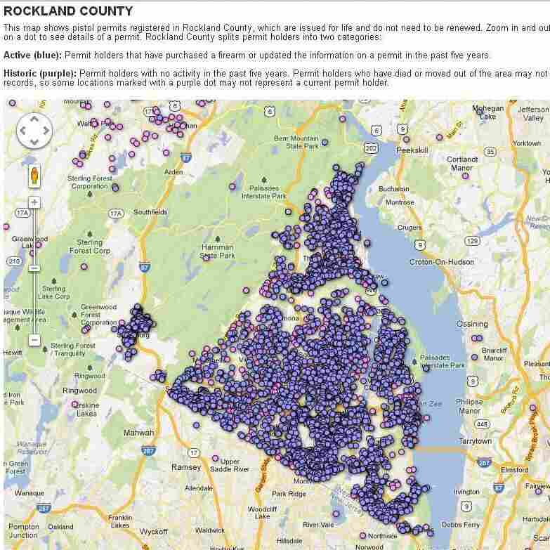 The Journal News' map of gun owners in Rockland County, N.Y. At its website, the image is interactive so that users can see who has handgun permits and where they live.