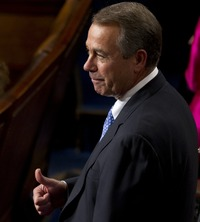 A thumbs-up in thanks:  Speaker John Boehner, R-Ohio, on the floor of the House today.
