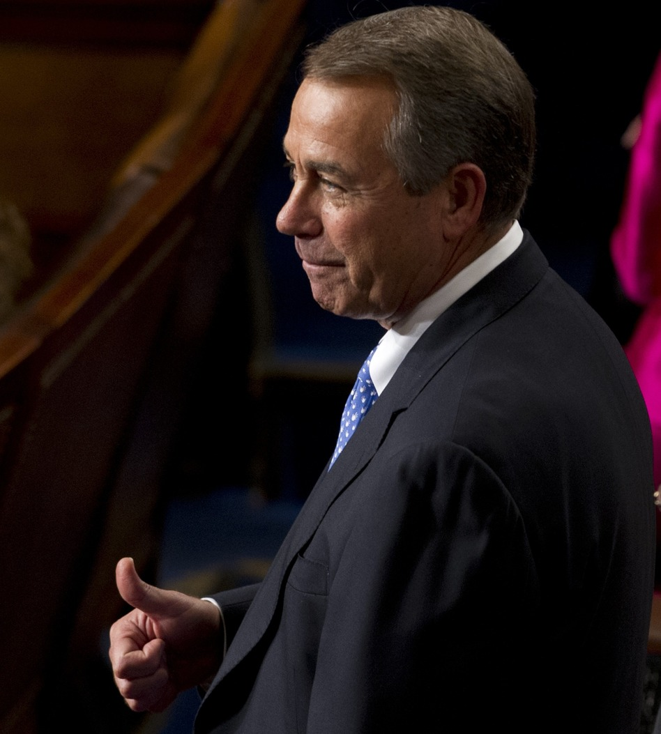 A thumbs-up in thanks:  Speaker John Boehner, R-Ohio, on the floor of the House today. (Saul Loeb /AFP/Getty Images)