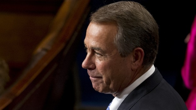 A thumbs-up in thanks:  Speaker John Boehner, R-Ohio, on the floor of the House today. (AFP/Getty Images)
