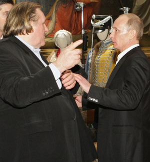 French actor Gerard Depardieu (left) and Russian leader Vladimir Putin in St. Petersburg in December 2010.