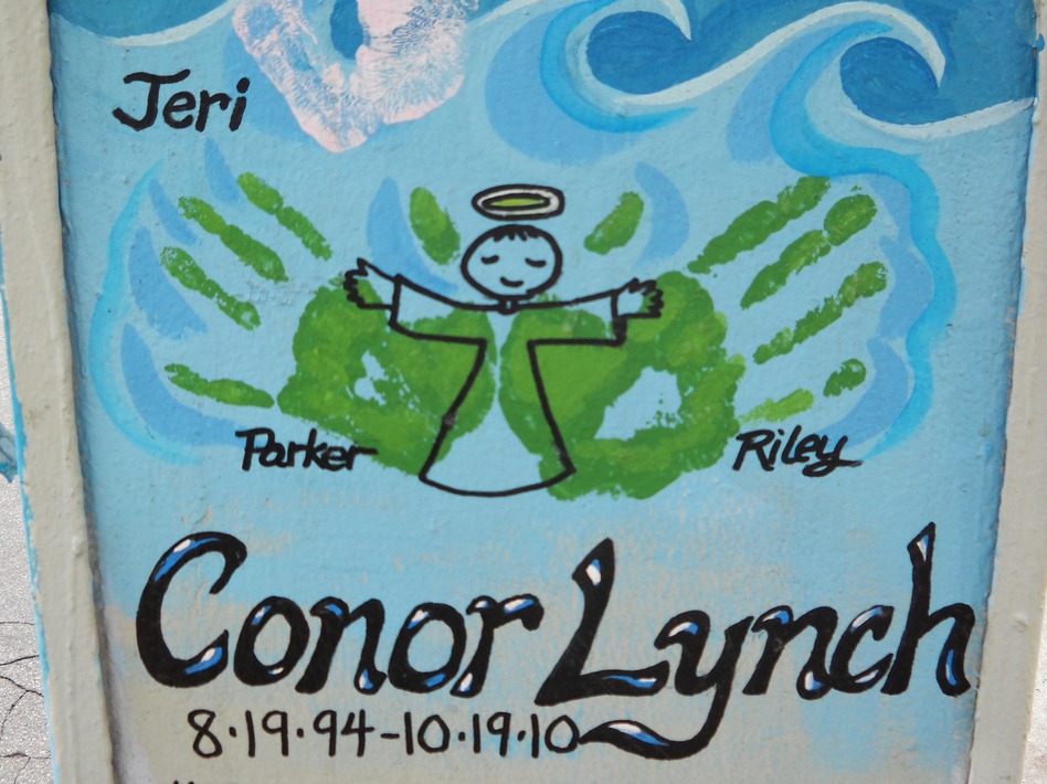 A memorial for Conor Lynch, a 16-year-old who was killed in a hit-and-run accident in 2010. (Gloria Hillard for NPR)