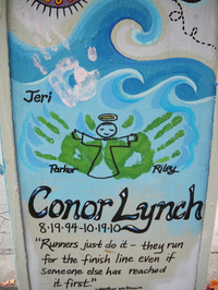 A memorial for Conor Lynch, a 16-year-old who was killed in a hit-and-run accident in 2010.
