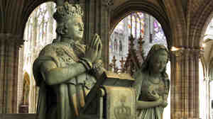 Scientists have established the authenticity of a cloth dipped in the blood of France's King Louis XVI. A memorial depicts the executed king and Queen Marie-Antoinette at Saint-Denis, near Paris.