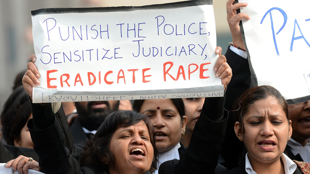 Protests continue, such as in New Delhi today. (AFP/Getty Images)