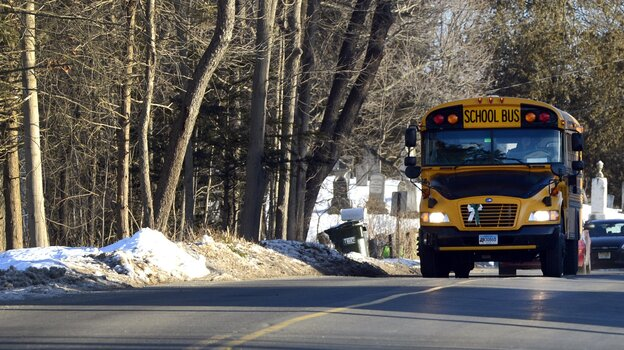 Early Thursday morning, a school bus carrying students from Sandy Hook Elementary headed to their new school.