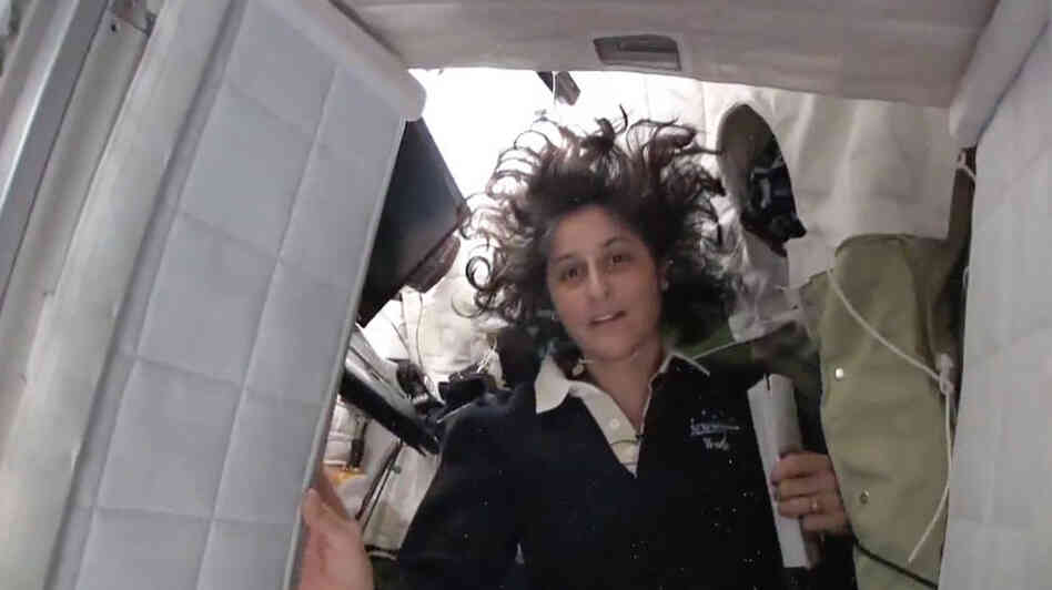 International Space Station commander Sunita Williams gives a tour of the astronauts' digs.