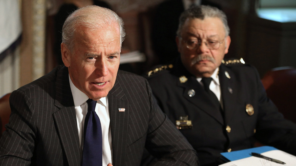 Vice President Joe Biden leads the first meeting of the working group to explore solutions following the Newtown shooting with Philadelphia Police Commissioner Charles Ramsey and other law enforcement leaders on Dec. 20. (Getty Images)