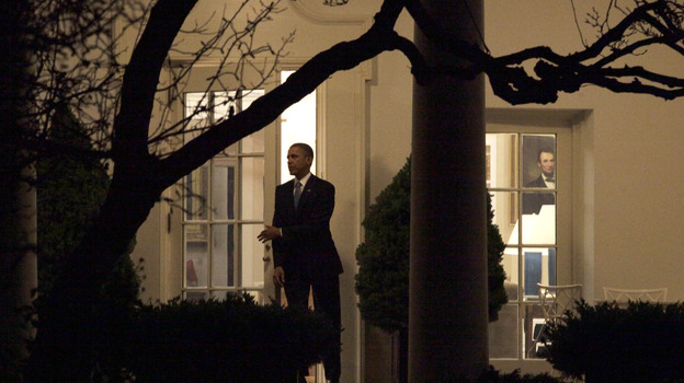 President Obama leaves the Oval Office early Wednesday after the House passed legislation to retain tax breaks for most Americans, let tax rates rise for the wealthiest, and delay action on mandatory spending cuts. (Getty Images)