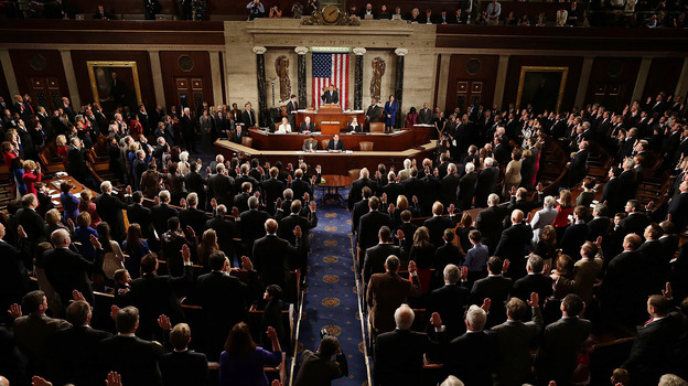 House Speaker John Boehner swears in the newly elected members of the 113th Congress on Thursday. (Getty Images)