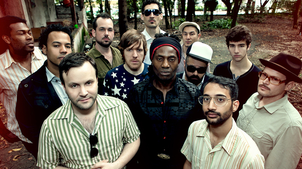 Antibalas was founded in 1998 by baritone sax player Martin Perna (far right, in hat) and is fronted by singer-percussionist Amayo (center, in head wrap). The group has seen many lineup changes in its decade and a half together. (Courtesy of the artist)