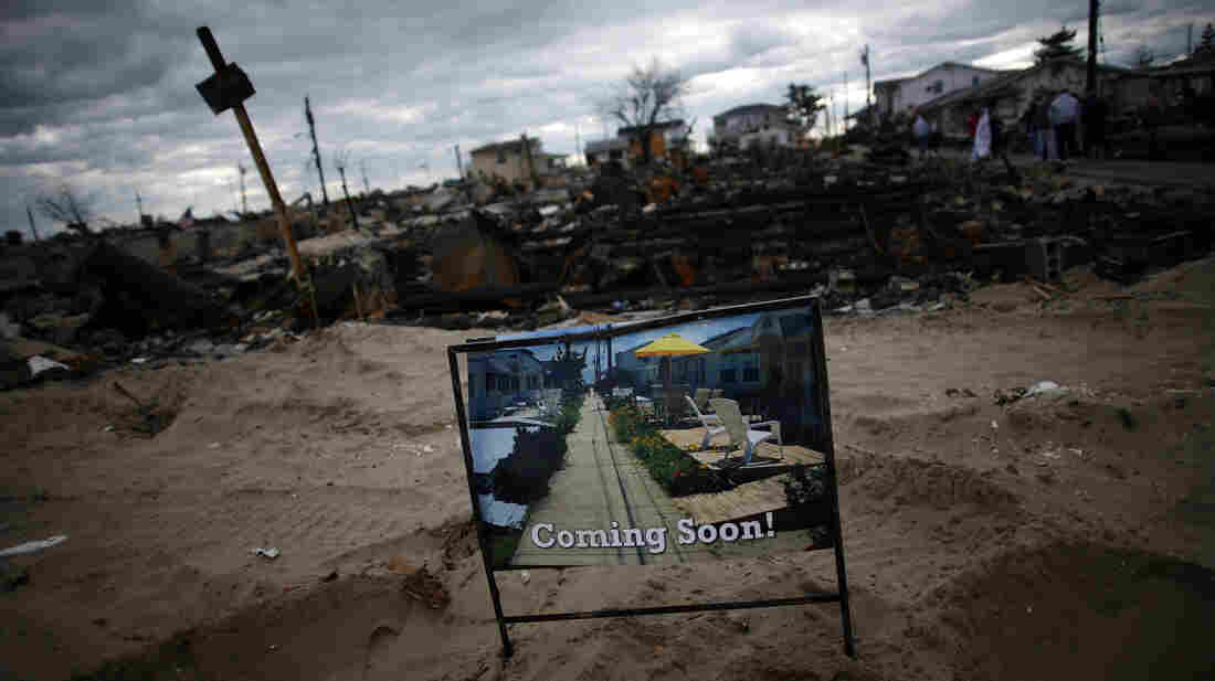 Superstorm Sandy swept through the Breezy Point neighborhood of Queens, N.Y., in late October. In late November, this sign symbolized the hope of homeowners that help would be coming soon.