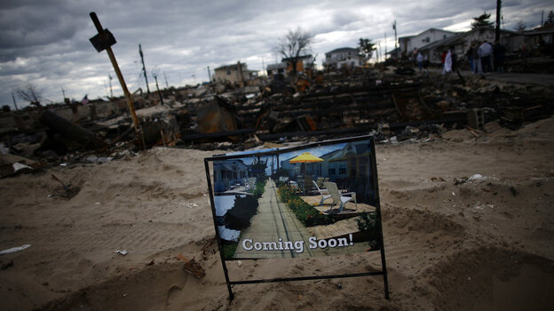 Superstorm Sandy swept through the Breezy Point neighborhood of Queens, N.Y., in late October. In late November, this sign symbolized the hope of homeowners that help would be comin