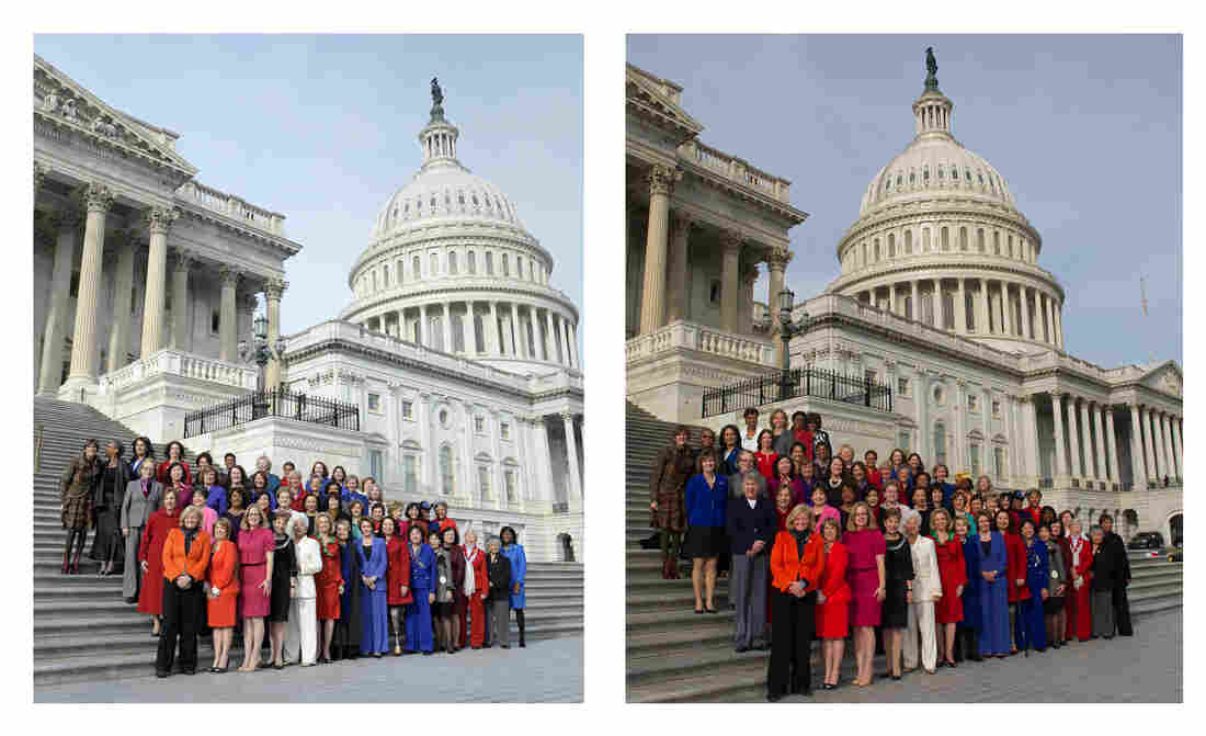 At left: An Associated Press photo taken Thursday as female House Democrats posed outside the Capitol. At right: The image produced by Pelosi's office, which adds four women to the top row, in the middle.