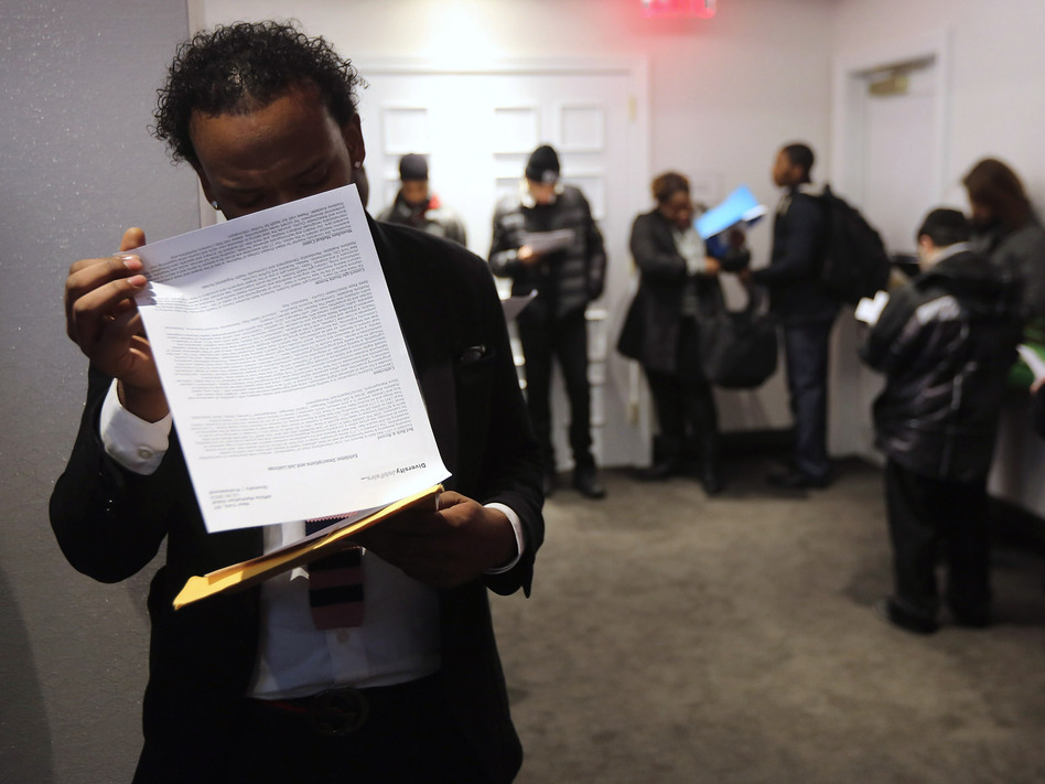 "Looking for work: The scene at a ""diversity job fair"" in Manhattan last month."