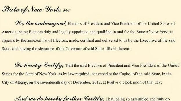 An image of New York's Electoral College certificate. (Electoral College)