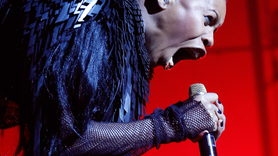 The singer Skin of Skunk Anansie performs at Brixton Academy in London last month. She wrote the foreword to Laina Dawes' What Are You Doing Here?: A Black Woman's Life and Liberation in Heavy Metal. (Redferns via Getty Images)