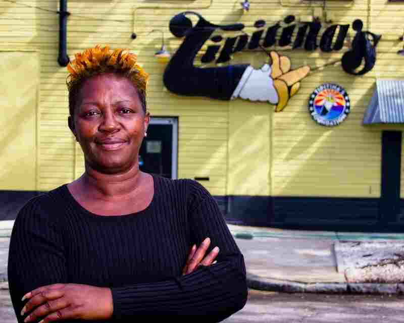 Professor Longhair's daughter Pat Walton Byrd poses outside Tipitina's, a New Orleans venue named after one of her father's compositions.