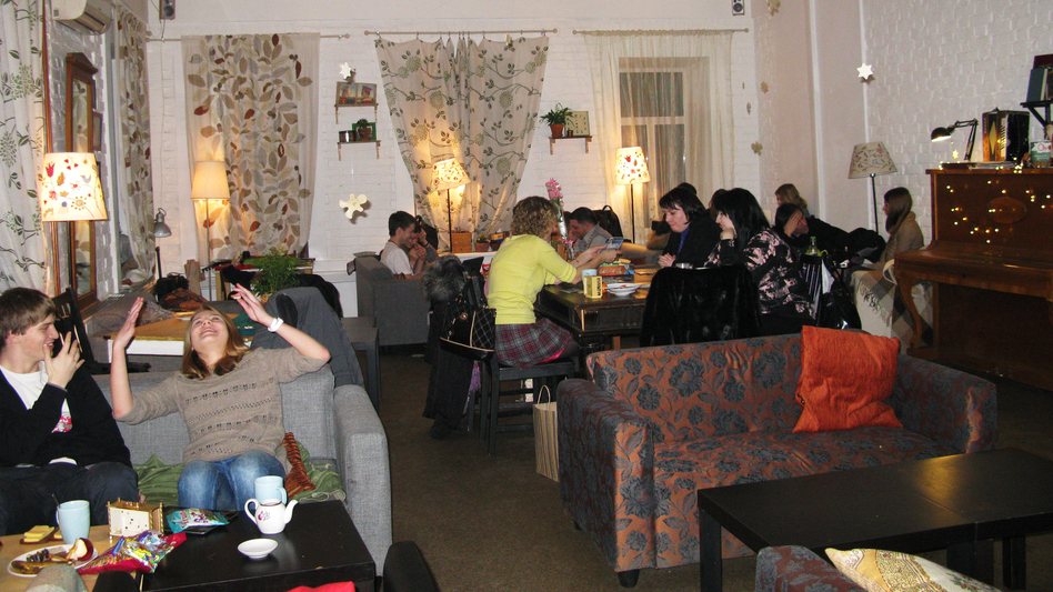 Tsiferblat, or Clockface Cafe, in Moscow draws a young crowd, from students to entrepreneurs. The cafe provides Wi-Fi, printers, books and art supplies. Drinks, snacks, atmosphere and the space are free. All customers pay for is time. (Courtesy Of Diana Derby)