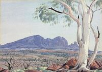 "Albert Namatjira's ""Ghost Gum, MacDonnell Ranges"" (1953) from Christie's online catalog."
