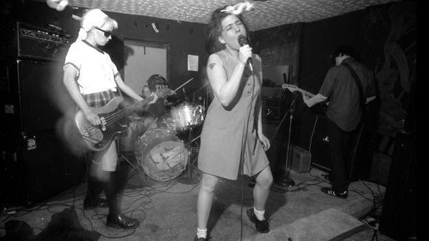 Bikini Kill performs in Washington, D.C., in the 1990s. (Courtesy of Pat Graham)