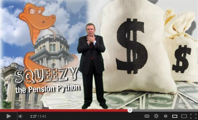 A screenshot of a YouTube video about the pension crisis by the Illinois Governor's Office shows Squeezy the Pension Python squeezing the state Capitol.
