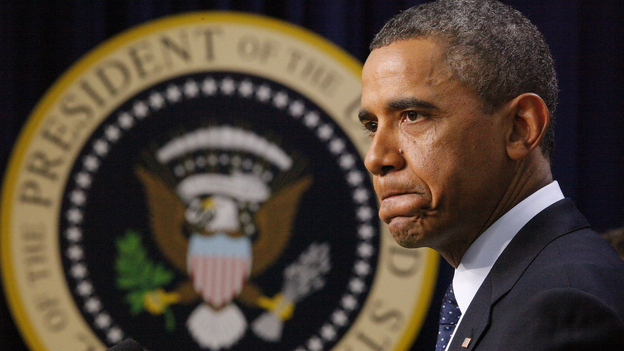 President Obama pauses as he speaks about the fiscal cliff on Monday. Some progressives say the president was not aggressive enough with Republicans during budget talks and are hoping he is stronger in his second term. (AP)
