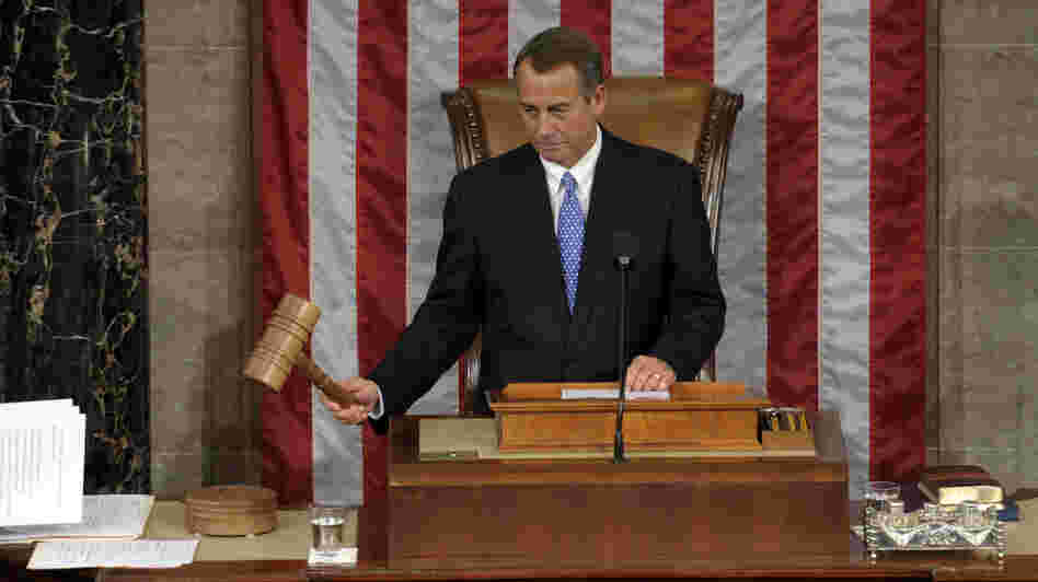 House Speaker John Boehner of Ohio bangs the gavel after being re-elected as House Speaker of the 113th Congress on Thursday on Capitol Hill in Washington.