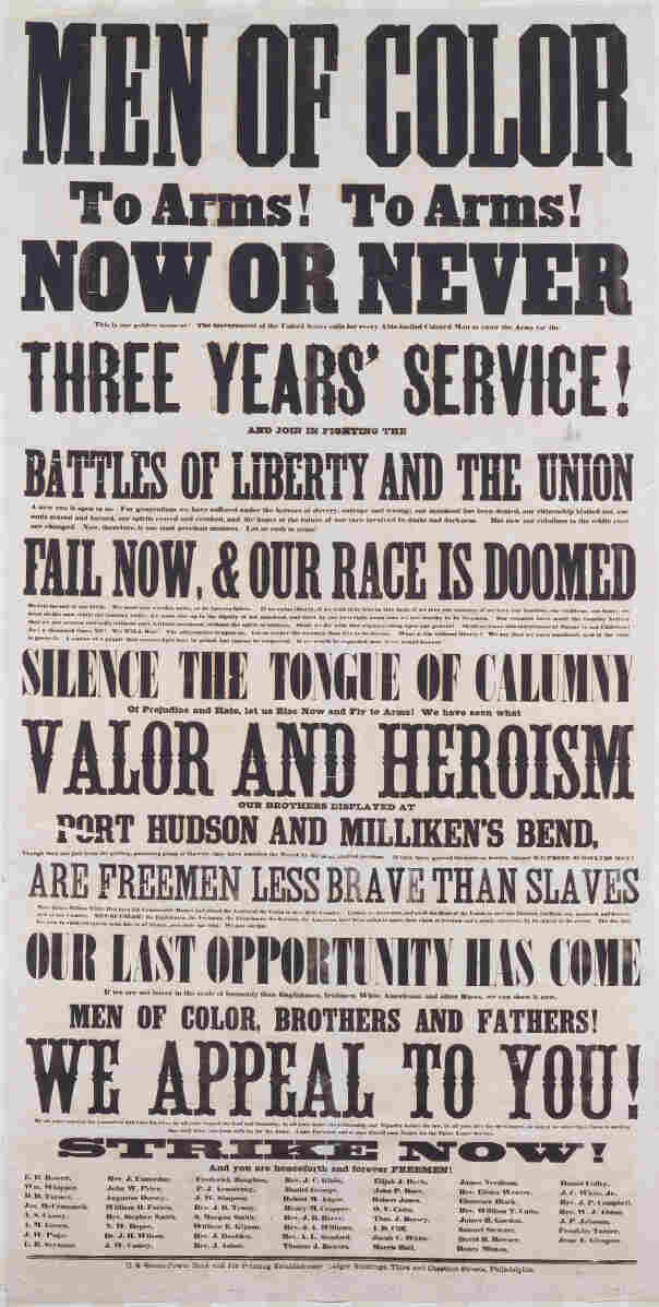 A Union army recruiting poster aimed at black men.