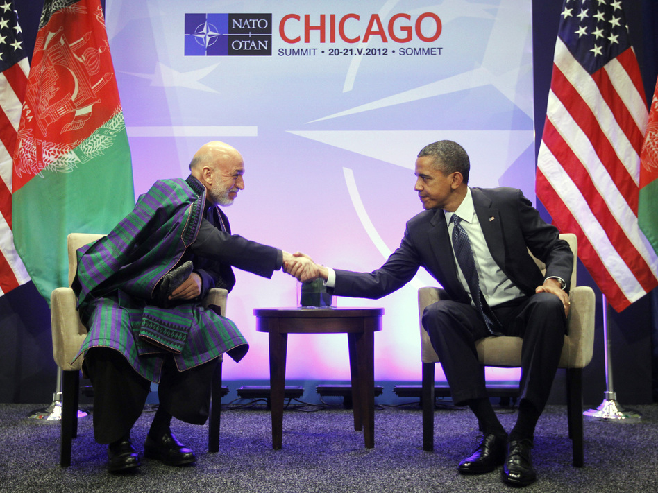 President Obama and Afghan President Hamid Karzai greet each other during a May 20 meeting at the NATO Summit in Chicago. Karzai is in Washington, D.C., this week to meet Obama and other senior U.S. officials.