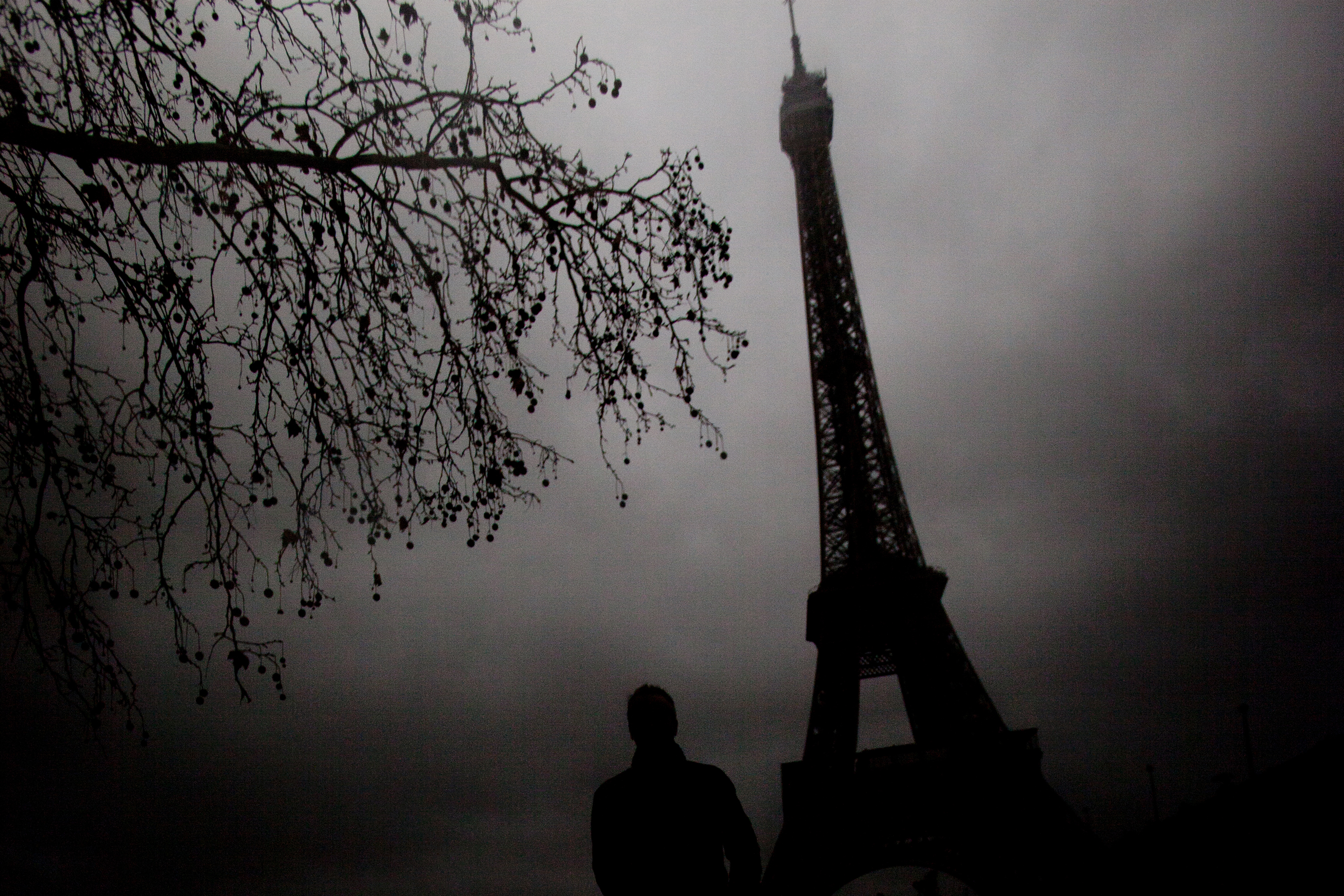 """The winter gloomy day worked to my advantage to create this eerie feeling of the famous landmark Eiffel tower."""