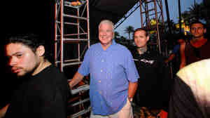 TV personality Huell Howser died of natural causes Sunday night, according to KCET. Here, he's seen at the Coachella Valley Music and Arts Festival in 2008.