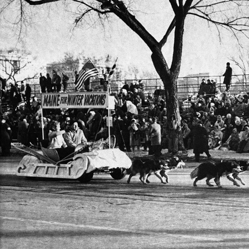 In 1961, when President John F. Kennedy was inaugurated, dogs were again part of the show. This time, Alaskan huskies pulled the State of Maine float along Constitution Ave.