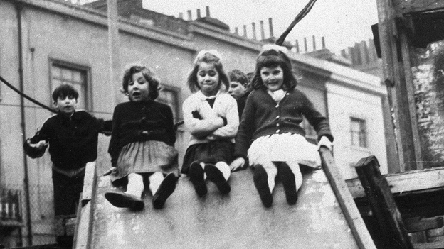 Jackie, Lynn and Sue — pictured here at age 7 — are three of the children featured in the landmark 1964 documentary 7 Up. The series returns this year with 56 Up, checking in with a group of 14 men and women whose lives have been documented since they were kids. (First Run Features)
