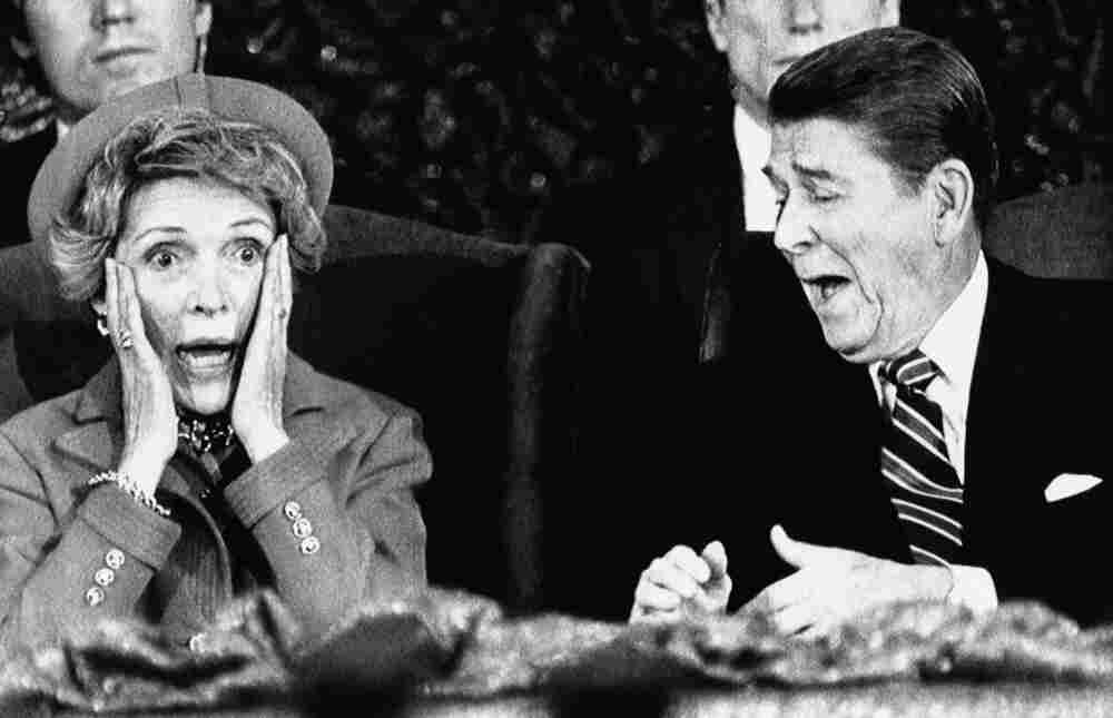 """It was an """"oops!"""" moment for first lady Nancy Reagan in 1985 when she forgot to introduce President Ronald Reagan during an inaugural event. It was too cold for an outdoor parade that year, so instead participants were invited to the Capital Center in Landover, Md."""