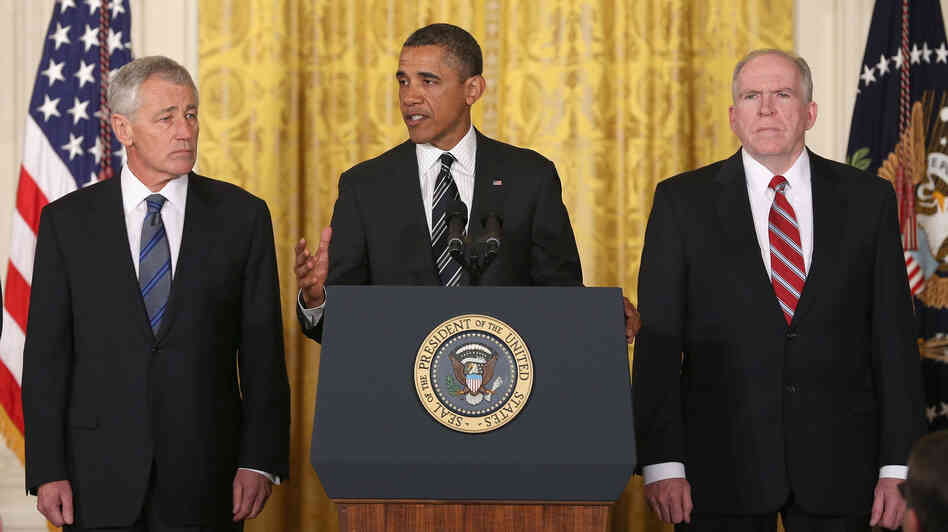 Former Sen. Chuck Hagel, left, President Obama and counterterrorism adviser John Brennan at today's announcement.