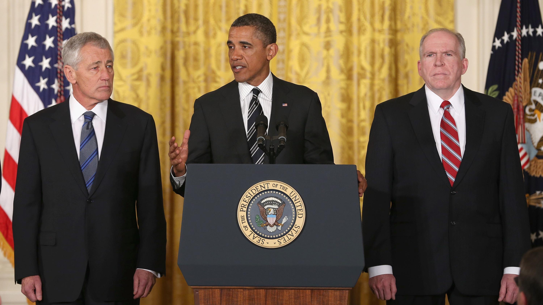 Former Sen. Chuck Hagel, left, President Obama and counterterrorism adviser John Brennan at today's announcement.