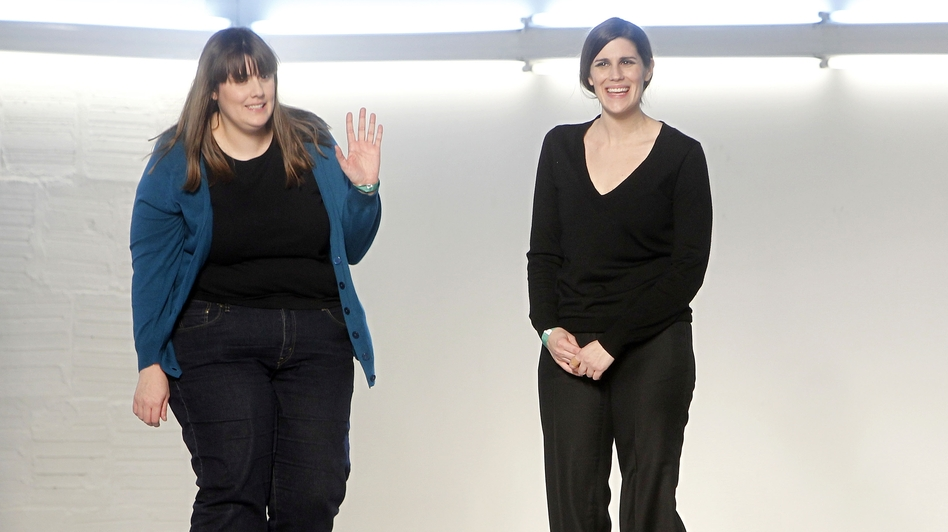 Designers and sisters Kate (left) and Laura Mulleavy acknowledge the audience after the Rodarte fall 2012 collection show during Fashion Week last February in New York. (AP)