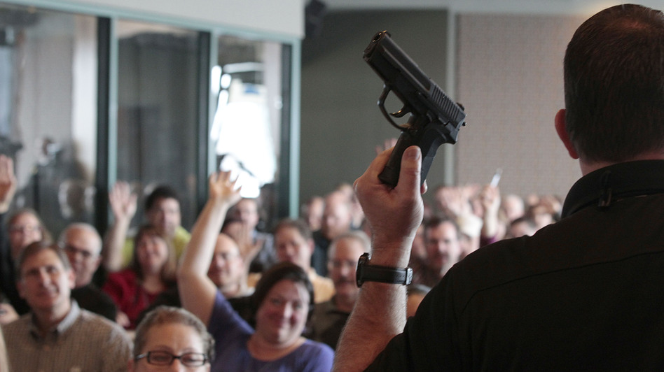 Firearm instructor Clark Aposhian conducts a concealed-weapons class for teachers, sponsored by the Utah Shooting Sports Council, in West Valley City, Utah. Across the country, school districts and other entities are hoping to better prepare staff to respond in a shooting situation. (Getty Images)