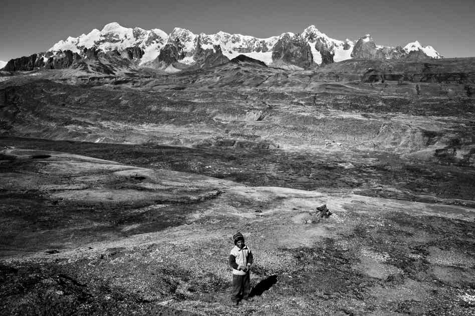 A snow-covered Andean peak near the Interoceanic Highway's highest point outside Ocongate looms over a young Quechua llama herder. The highway is having a profound impact on migration, bringing an estimated 200 to 300 people daily from the Andean highlands to the Amazon Basin, most of whom will work in the mining sector.