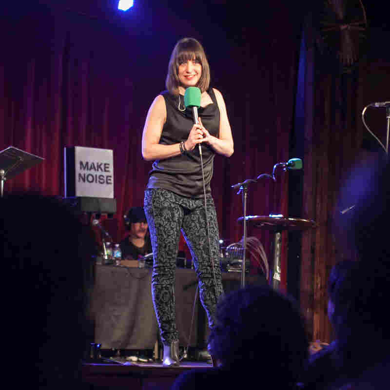 Host Ophira Eisenberg plays to the crowd at The Bell House.