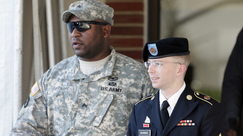 Army Pfc. Bradley Manning is escorted out of a courthouse in Fort Meade, Md., after a pretrial hearing last year. (Patrick Semansky/AP)