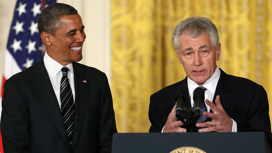 Former U.S. Sen. Chuck Hagel, R-Neb., speaks at the White House on Monday after President Obama nominated him to replace Defense Secretary Leon Panetta.