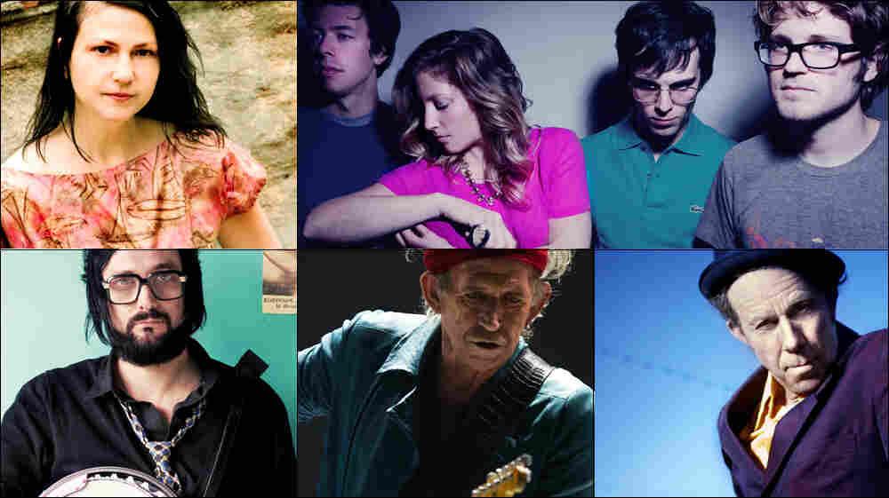 Clockwise from upper left: Lisa Germano, Ra Ra Riot, Tom Waits, Keith Richards, Blaudzun.