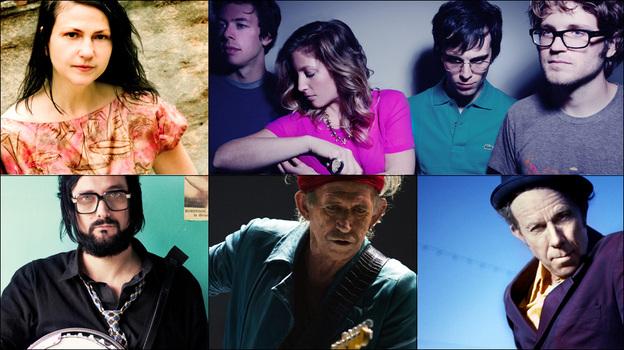 Clockwise from upper left: Lisa Germano, Ra Ra Riot, Tom Waits, Keith Richards, Blaudzun. (Courtesy of the artists)