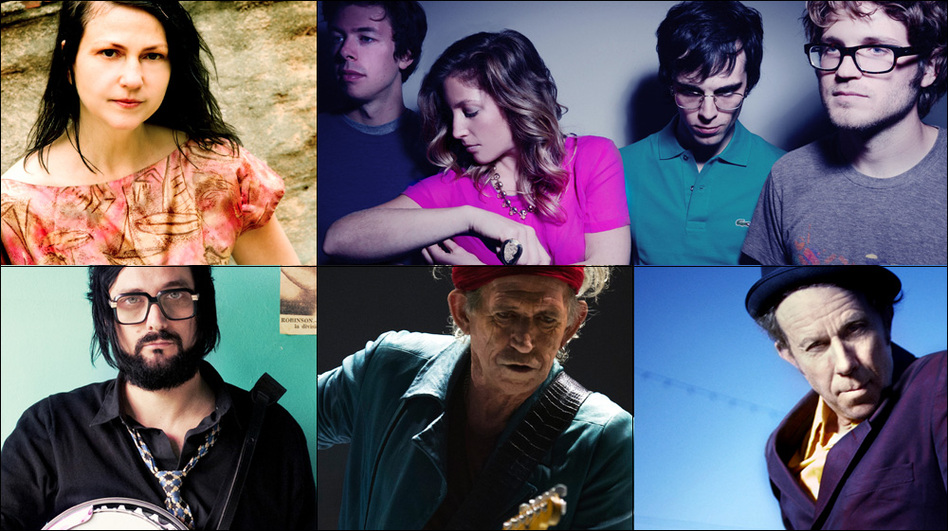 Clockwise from upper left: Lisa Germano, Ra Ra Riot, Tom Waits, Keith Richards, Blaudzun. (Courtesy of the artists)