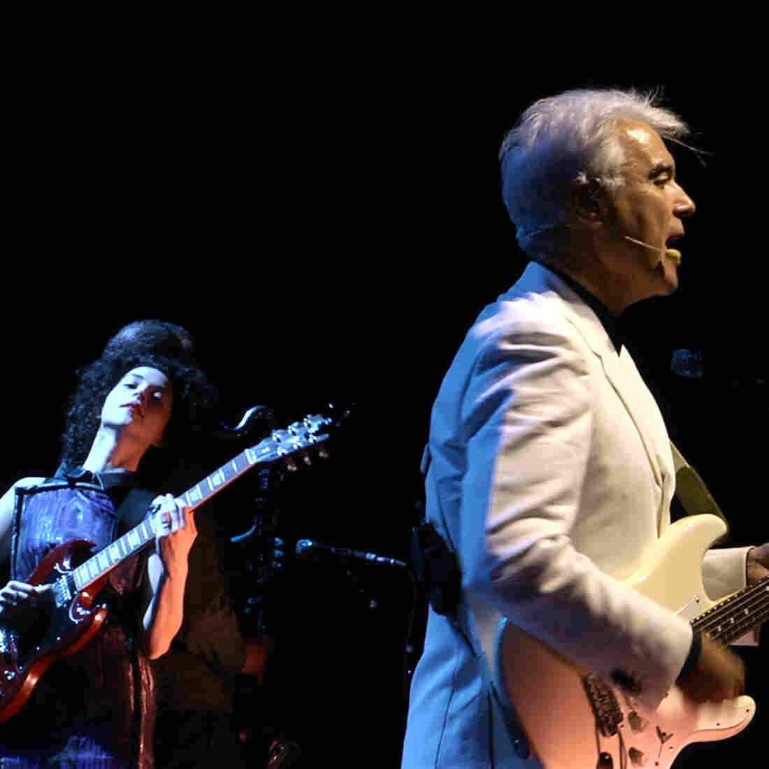 Annie Clark (of St. Vincent) and David Byrne perform together at The Music Center at Strathmore in North Bethesda, Md., on Sept. 30, 2012.