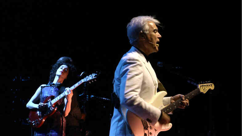 Annie Clark (of St. Vincent) and David Byrne perform together at The Music Center at Strathmore in North Bethesda, Md