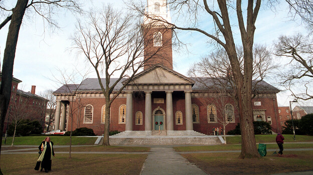 Top schools like Harvard, seen here in 2000, often offer scholarships and other financial incentives, but they are finding it hard to increase the socioeconomic diversity on campus. (Getty Images)