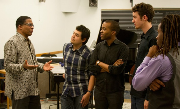 Herbie Hancock speaks with the current class of Thelonious Monk Institute of Jazz Performance masters degree students.